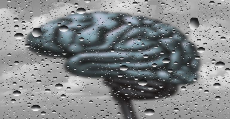 Brain behind fog and rain