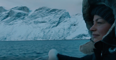aker video maria in arctic with glacier view