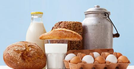 staple foods including eggs, flour, and milk